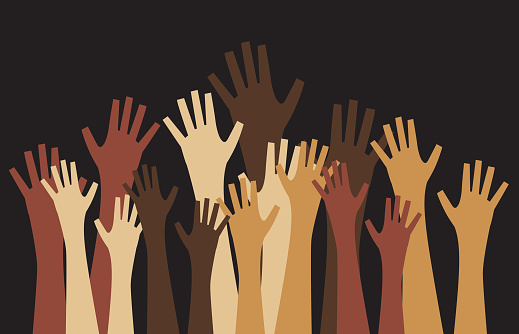 Vector illustration of a crowd od hands reaching upwards.